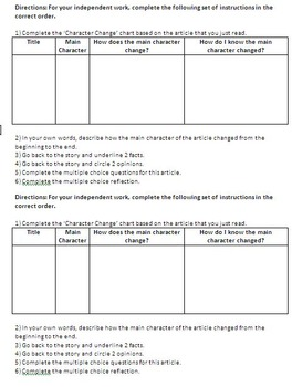 Character Change - ELA Test Prep