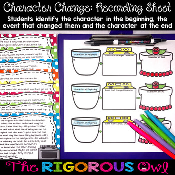 Character Change Task Card Activity Bundle