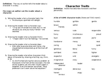 Character/Characterization Notes Booklet