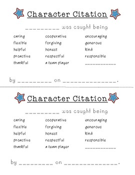Character Citations- Recognizing Character