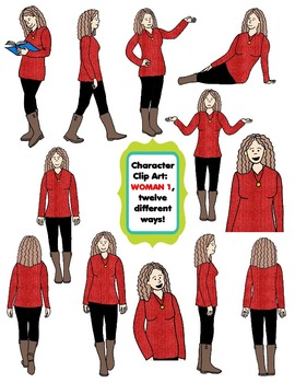 Character Clip Art: Adult Woman 1 (Teacher/Mom), 12 different Ways! 24 PNG's