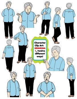 Character Clip Art: Adult Woman 3 (Teacher/Grandma), 12 different Ways! 24 PNG's