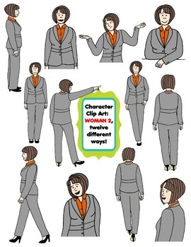 Character Clip Art: Adult Woman 2 (Teacher/Mom), 12 different Ways! 24 PNG's