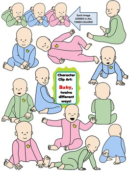 Character Clip Art: BABY, 12 different Ways! 48 PNG's