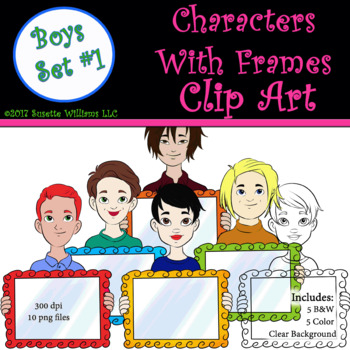 Character Clip Art: Boys with Frame Set #1