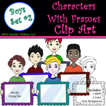 Character Clip Art: Boys with Frame Set #2