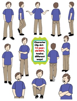 Character Clip Art: Fifteen Year-Old BOY, 12 different Way