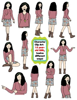 Character Clip Art: Fifteen Year-Old Girl, 12 different Ways! 24 PNG's
