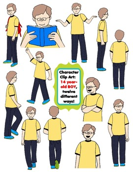Character Clip Art: Fourteen Year-Old BOY, 12 different Ways! 24 PNG's