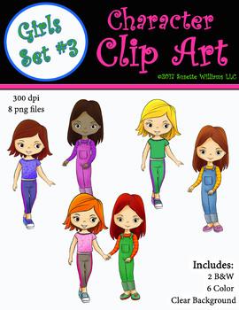 Character Clip Art: Girls Set #3