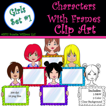 Character Clip Art: Girls with Frame Set #1