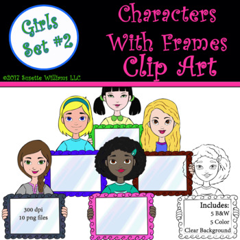 Character Clip Art: Girls with Frame Set #2
