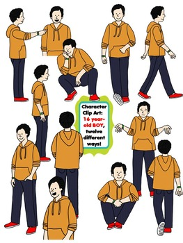 Character Clip Art: Sixteen Year-Old BOY, 12 different Ways! 24 PNG's