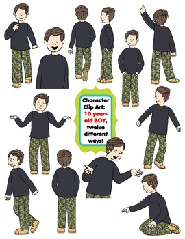 Character Clip Art: Ten Year-Old BOY, 12 different Ways! 24 PNG's