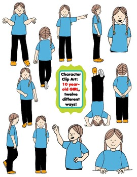 Character Clip Art: Ten Year-Old Girl, 12 different Ways! 24 PNG's