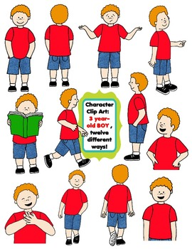 Character Clip Art: Three Year-Old BOY, 12 different Ways! 24 PNG's