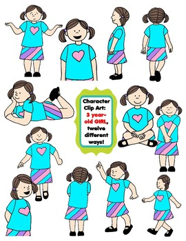 Character Clip Art:  Three Year-Old Girl, 12 different Ways! 24 PNG's