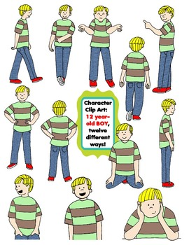 Character Clip Art: Twelve Year-Old BOY, 12 different Ways! 24 PNG's