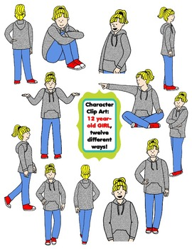 Character Clip Art: Twelve Year-Old Girl, 12 different Ways! 24 PNG's