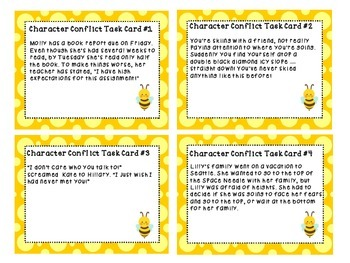 Character Conflict Task Cards with and without QR codes