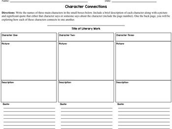 Character Connections Reading Activity for Middle School
