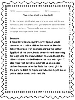 Character Costume Contest - Halloween Reading Activity