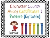 Character Counts Award Certificates & Posters (Editable)