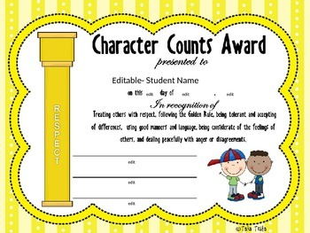 Character Counts Award Certificates & Posters (Editable ...