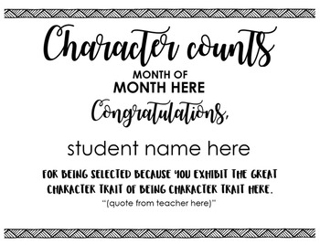 Character Counts Certificate