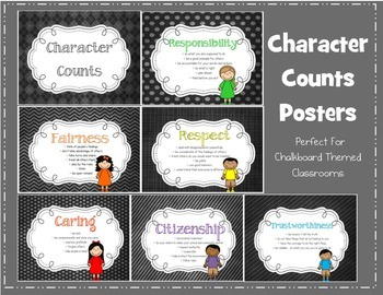 Character Counts Posters - Chalkboard Theme Style
