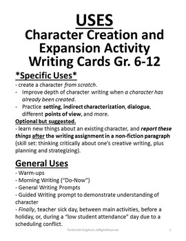 Character Creation & Expansion Activity Writing Cards, Gr. 6-8, 9-12