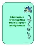 Character Description Book Report, grades 4-5
