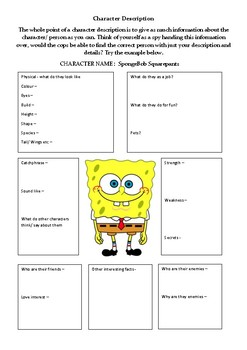 Character Description - SpongeBob Squarepants