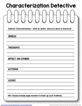Characterization Detective Worksheets FREEBIE