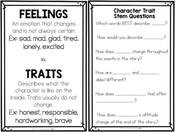 Character Traits Task Cards and Printables
