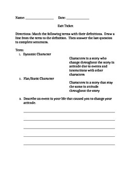 Character Development Exit Ticket