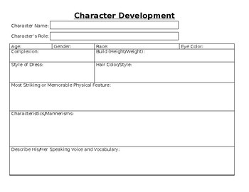 Character Development Project w/ Worksheet, Presentation, Short ...