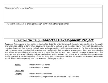 Character Development Project w/ Worksheet, Presentation, Short Story, & Rubric