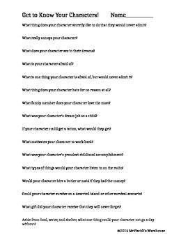 Character Development - Brainstorm Questions - Worksheet | TpT
