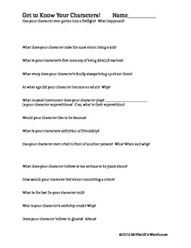 Character Development - Brainstorm Questions - Worksheet