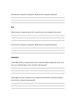 Character Development Text & Worksheets