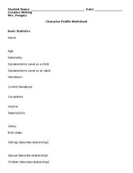 Character Development Worksheet