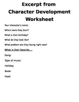 Character Development Worksheet for Creative Writing or Story Telling