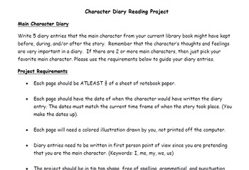 Character Diary Book Project