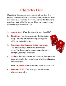 EDITABLE Student Led Discussion Guide for Literature Circles - Character Dice