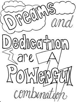 Character Ed - Dreams and Dedication Coloring Page