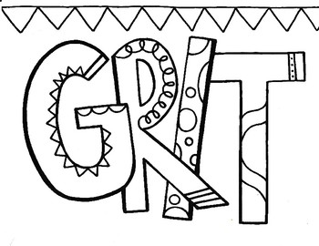 Character Ed - Grit Coloring Page