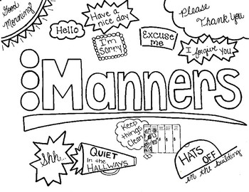 Character Ed - Manners at school Coloring Page