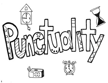Character Ed - Punctuality Coloring Page