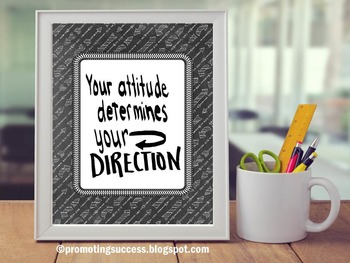 Poster with Quote About Attitude Black & White Classroom Decor